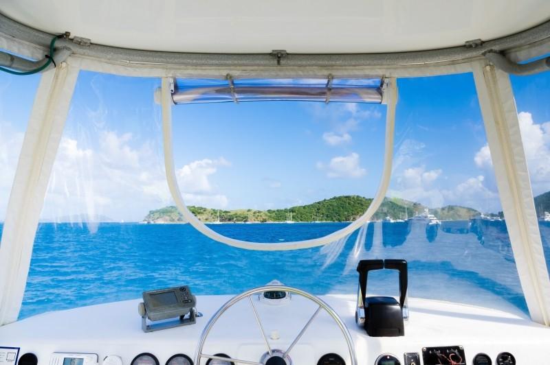 Image of Boat Interior Steering Boating Wheel Blue HQ